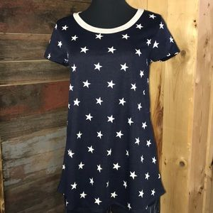 New Patriotic Navy Star Tee Top